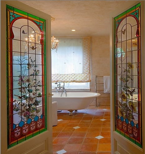 Bathroom With Interior Stained Glass French Doors Home