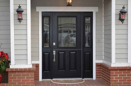 Black Door With Side Light : Chosing fiberglass entry doors with sidelights home