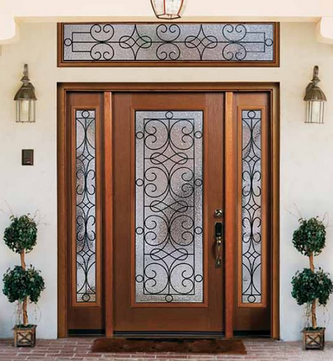 Brown fiberglass entry doors with sidelights from Trimlite collection