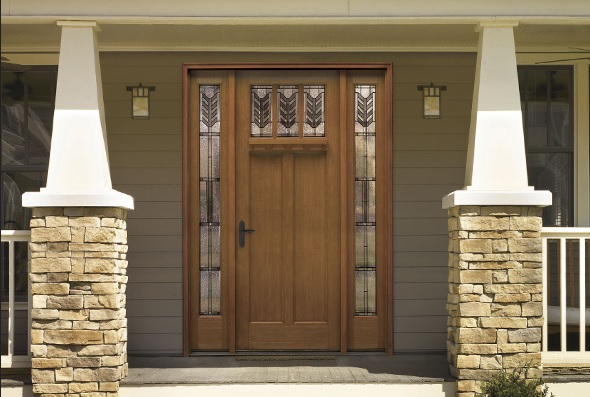 Craftsman American style entry doors design