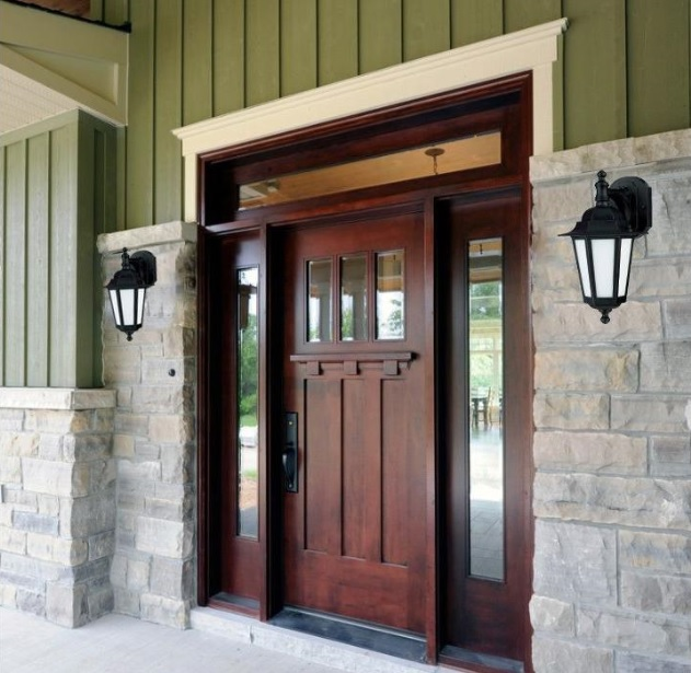 Craftsman style entry doors design left and right sidelights