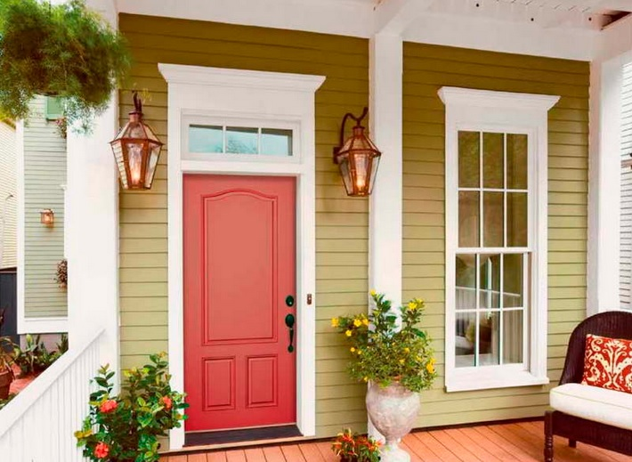 Craftsman style entry doors design red reto