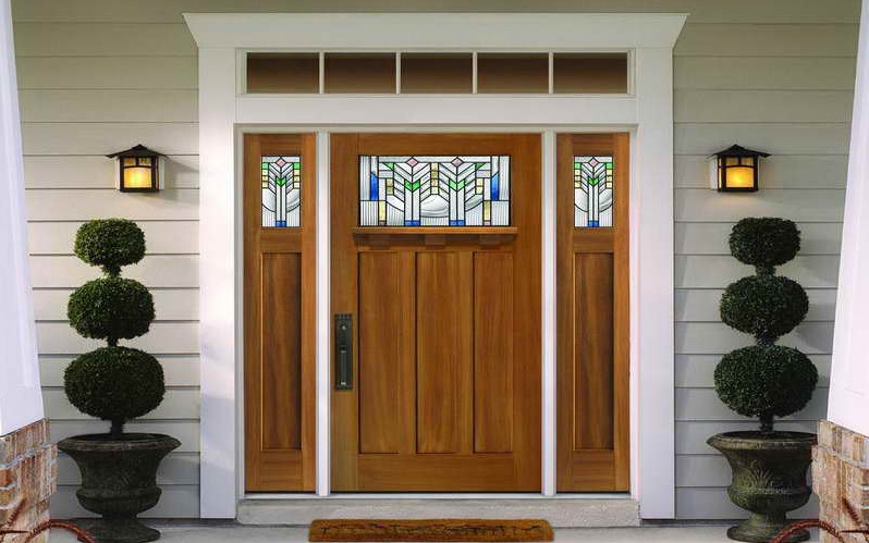 Craftsman style entry doors design with 2 sidelite
