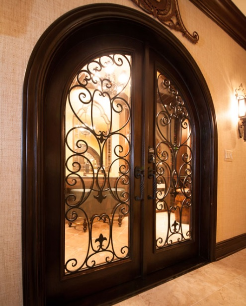 Double Arched Wrought Iron Doors With Glass