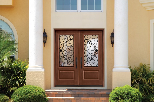 Fiberglass double entry doors with sidelights