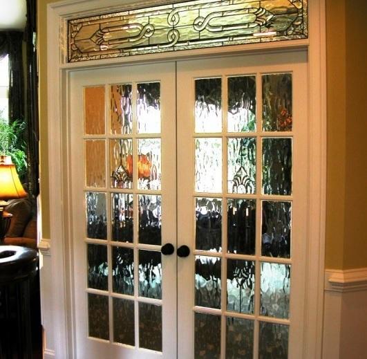 Interior glass french doors with water glass door