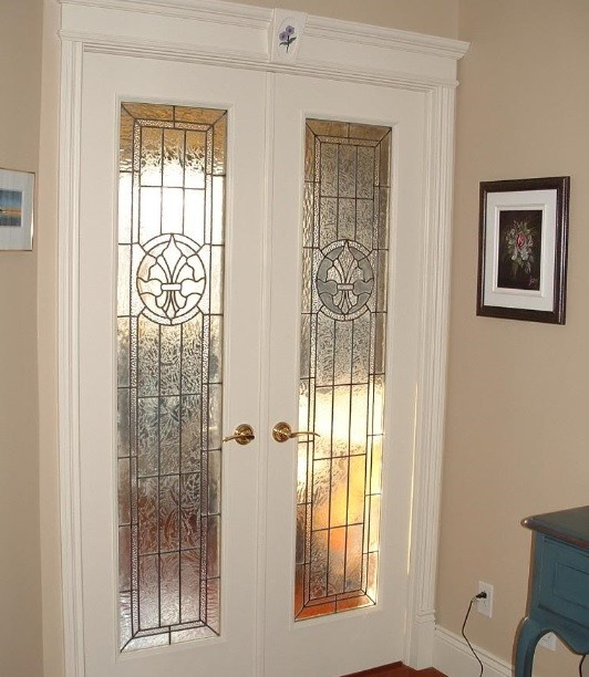 Interior Stained Glass French Doors Victorian Style Home