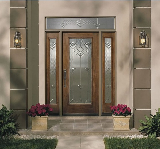 Modern fiberglass entry doors with sidelights