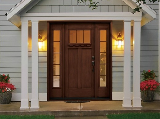 Rustic Style Fiberglass Entry Doors With Sidelights Home