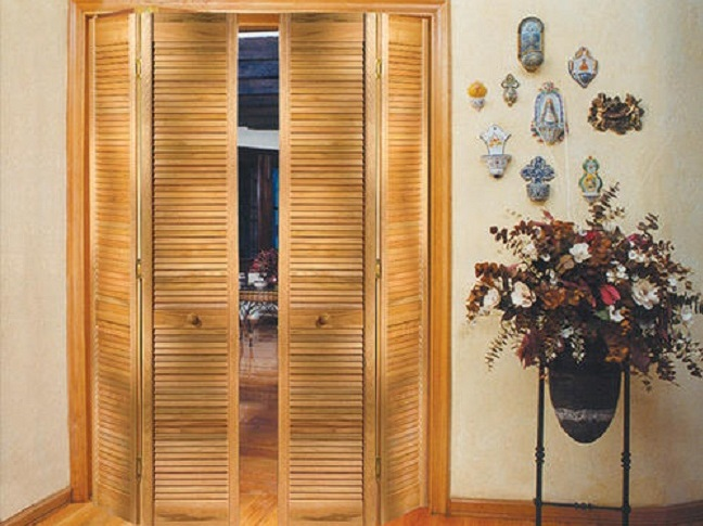 Unfinished full louvered interior hardwood doors