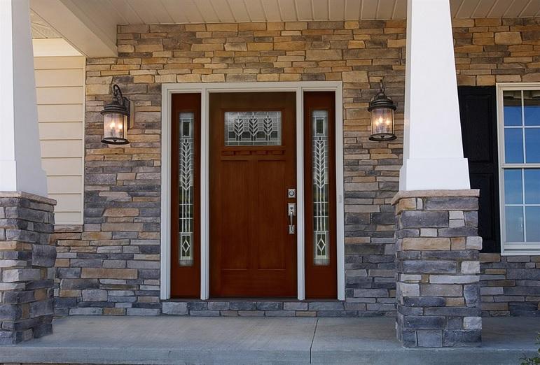 Wood look Fiberglass entry doors with sidelights