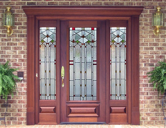 craftsman style entry doors design with beautiful glass style