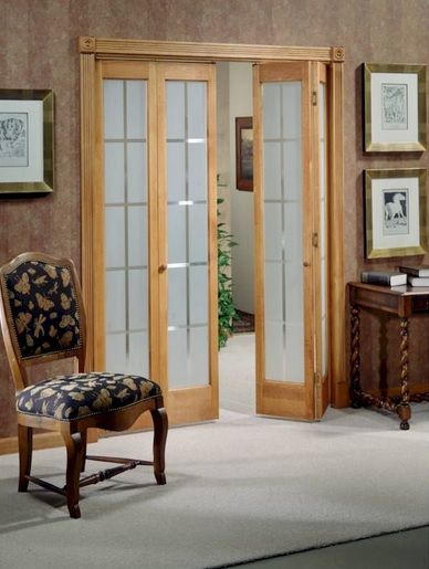 Superieur Frosted Glass Panel Interior Folding French Doors