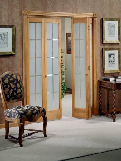 Frosted glass panel interior folding french doors  Home Doors Design Inspiration - DoorsMagz.com
