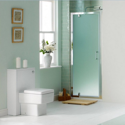 Modern Bathroom With Frosted Glass Shower Doors
