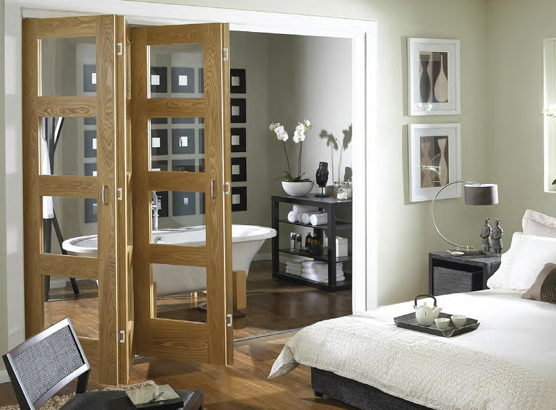 Oak folding french doors master bedroom design