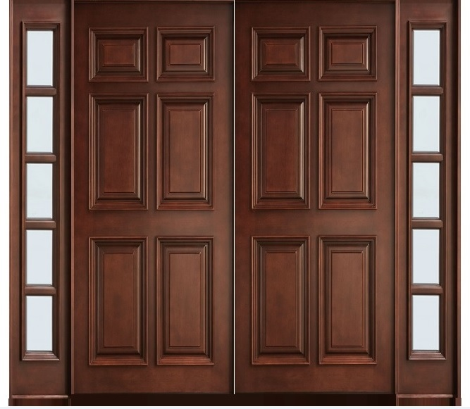 Solid wood 6 panel main double doors home doors design for Double door wooden door