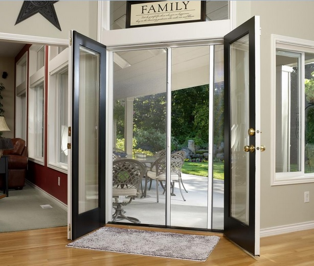 Double french doors with retractable screen doors