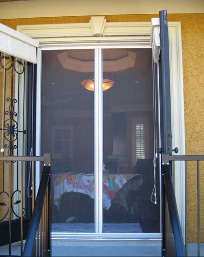 Double page screen doors for french doors
