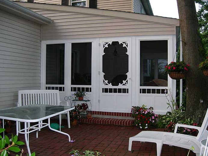 White georgian solid vinyl screen doors