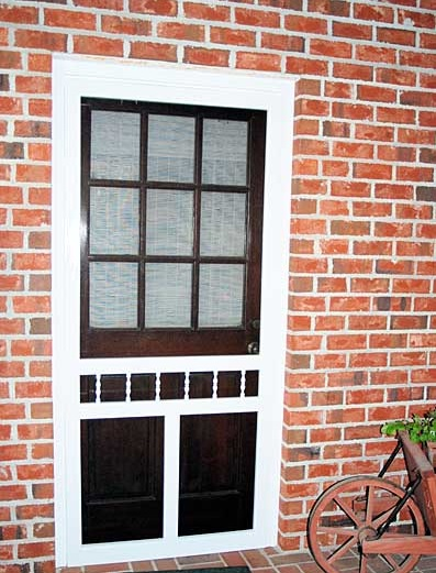 White litchfield solid vinyl screen doors