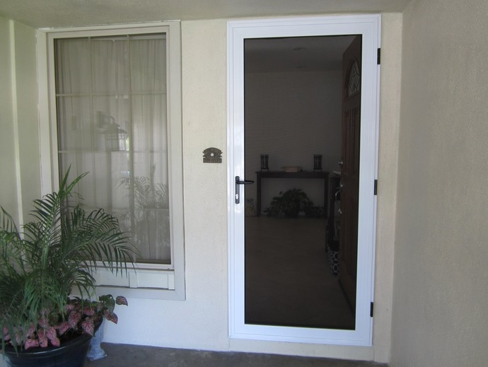 White vinyl screen doors