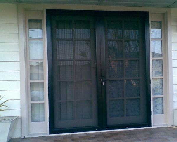 Black double screen doors for french doors home doors for Can you put screens on french doors