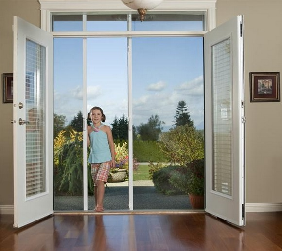 Double screen doors for double protection home doors for Double sliding screen door