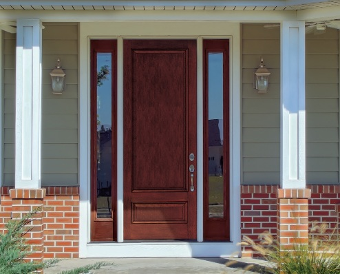 Beautiful colors entry doors with sidelights
