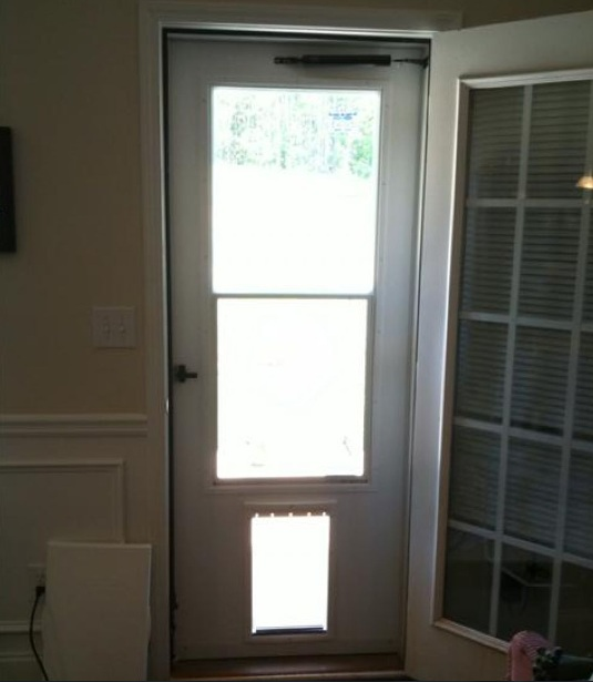 Screen door with pet door styles and design to improve for Exterior door with built in pet door