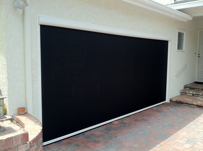 High quality motorized retractable garage door screen