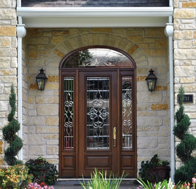 Mahogany entry doors with sidelights