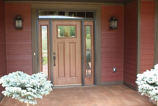 Natural finish entry doors with sidelights