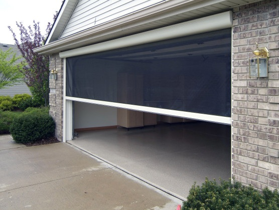 Retractable garage door screen for large garage door