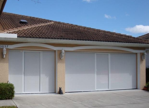 Retractable garage door screen kits for large opening