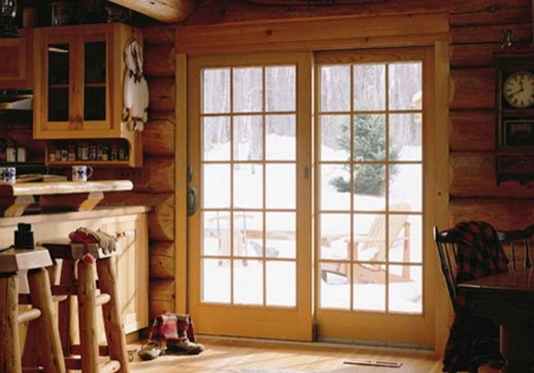 Sliding french patio doors in western home decor