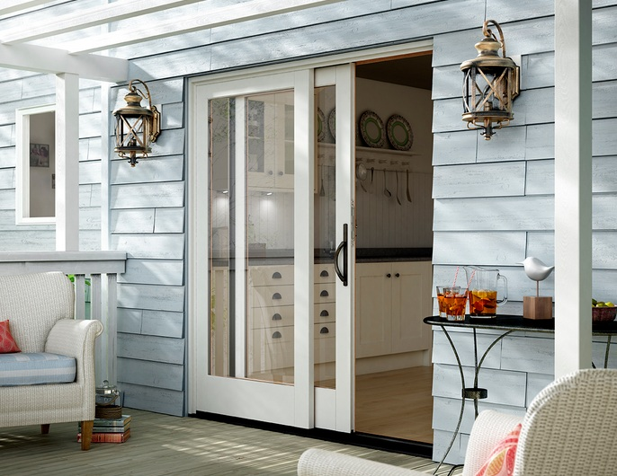 Sliding french patio doors with single panels