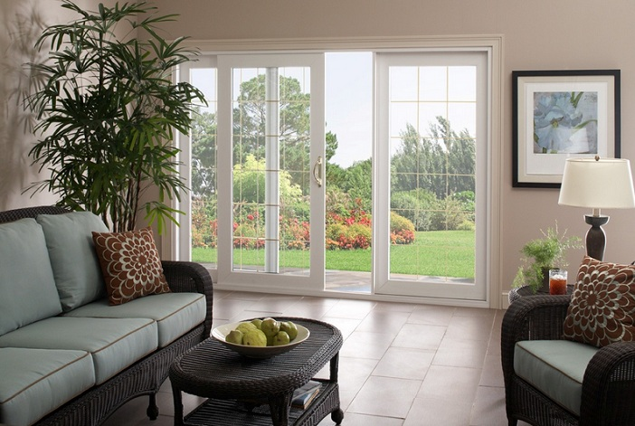 White sliding french patio doors