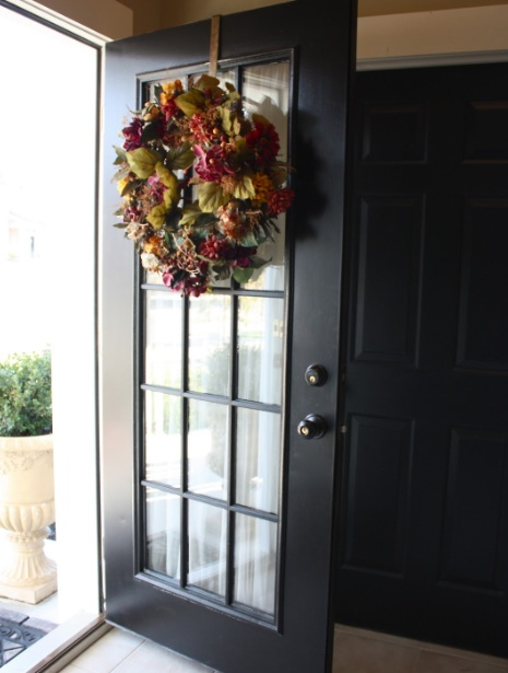 15 panel glass door with black painted frame