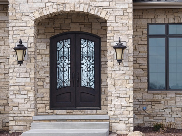 Black Arched Entry Doors With Mediterranean Style