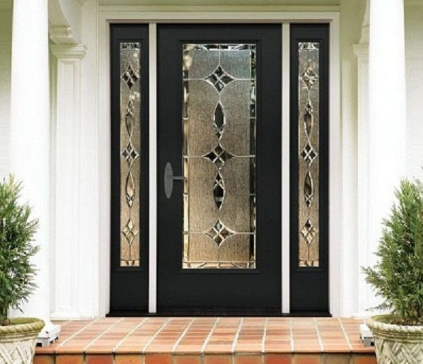 Black front single door designs with beautiful decorative glass