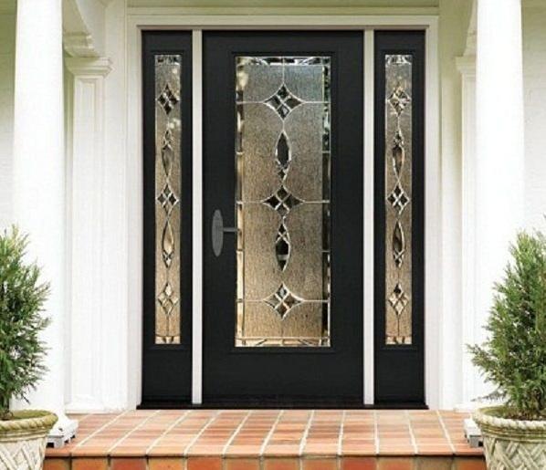 Black Front Single Door Designs With Beautiful Decorative Gl