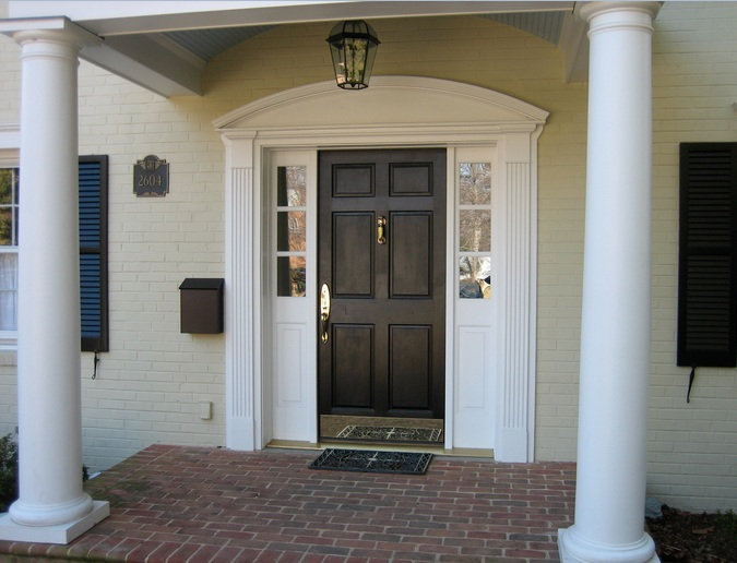 Black front single door designs with classic style