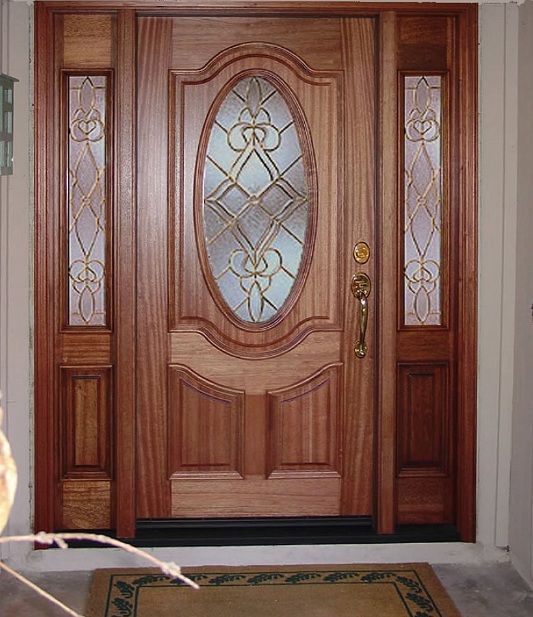 Classic front single door designs with frosted glass inserts