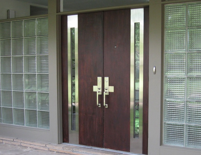 Contemporary Double Front Door Designs With With Side Glass