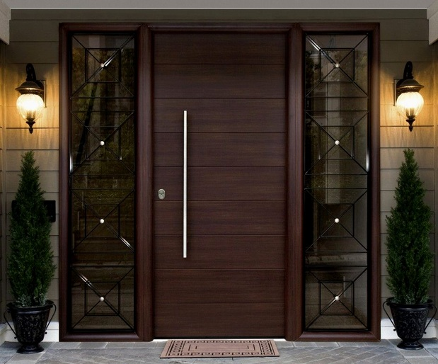 Contemporary Front Door Designs With Sidelight