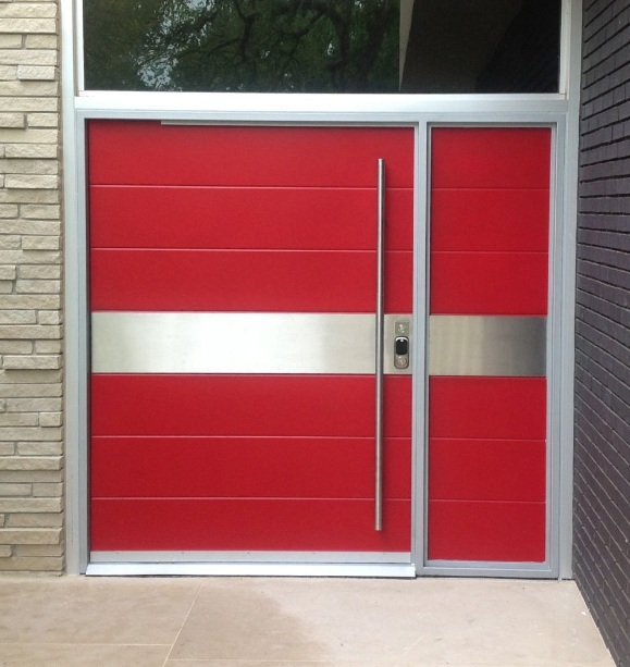 Contemporary red front door with custom design