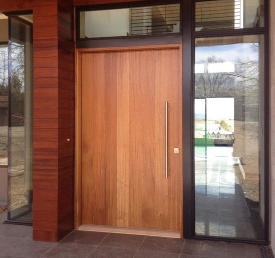 Contemporary Wood Front Door Designs With Long Pulls