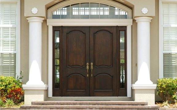 Custom wood entry doors with side glass panels