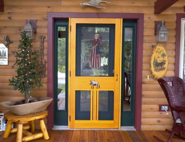Custom yellow entry doors with glass inserts